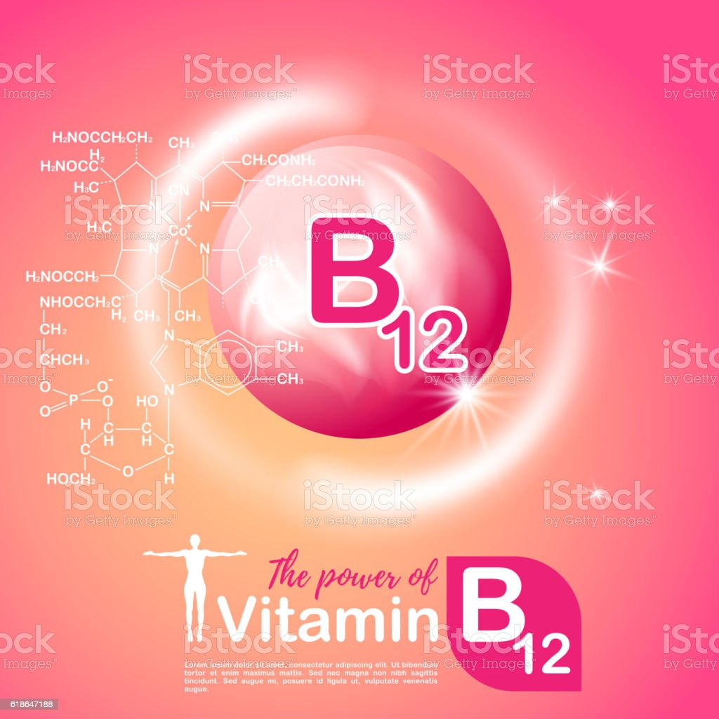 Nutrition sign concept. The power of vitamin B12. Сhemical formula vector art illustration