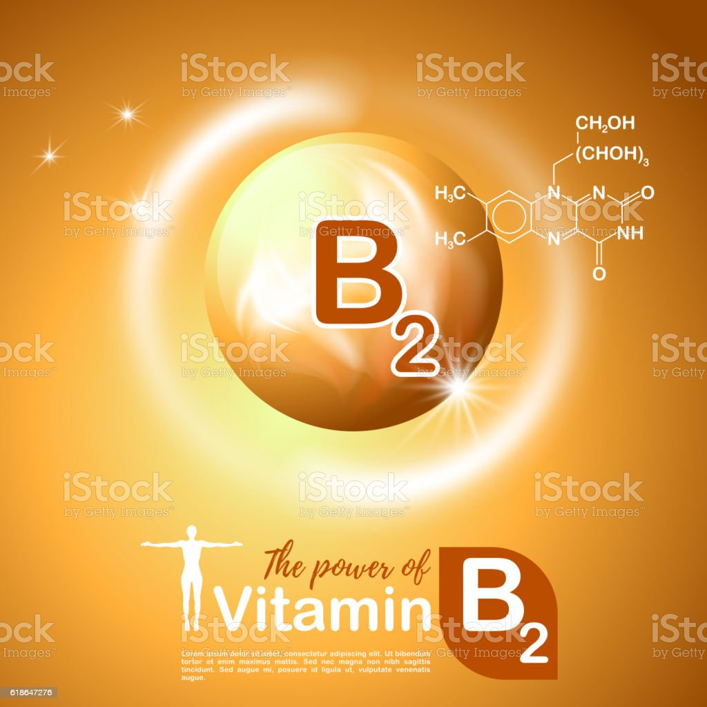 Nutrition sign concept. The power of vitamin B2. Сhemical formula vector art illustration