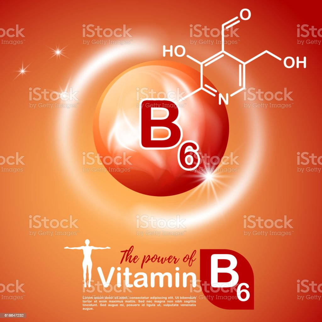 Nutrition sign concept. The power of vitamin B6. Сhemical formula vector art illustration