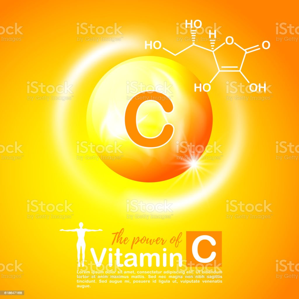 Nutrition sign concept. The power of vitamin C. Chemical formula vector art illustration