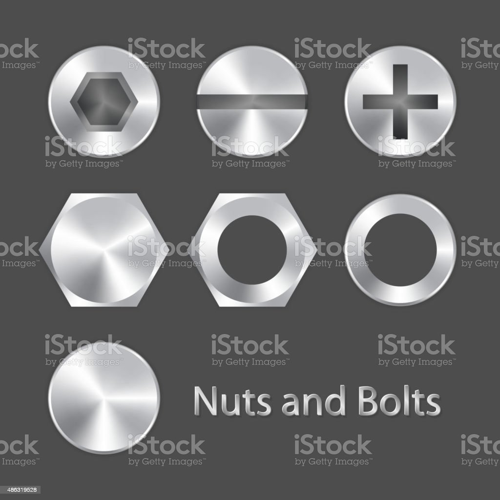Nuts and bolts vector art illustration