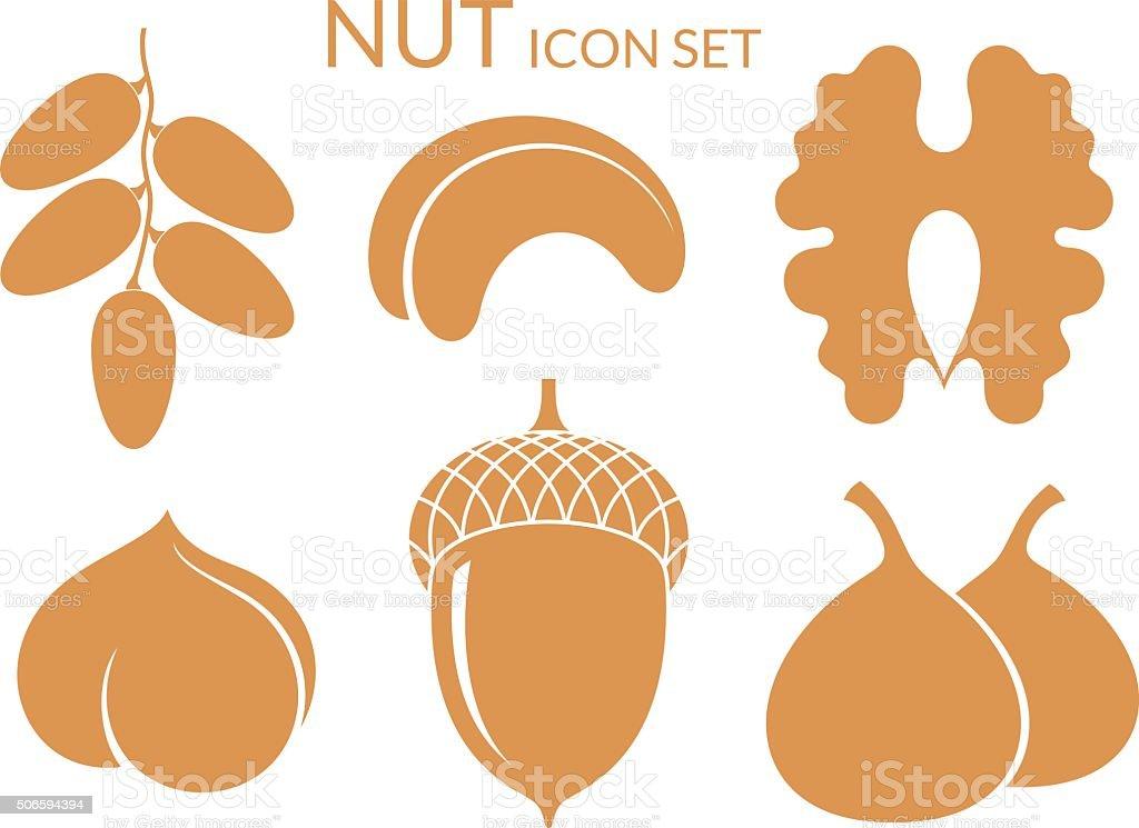 Nuts. Icon set. Isolated fruit on white background vector art illustration