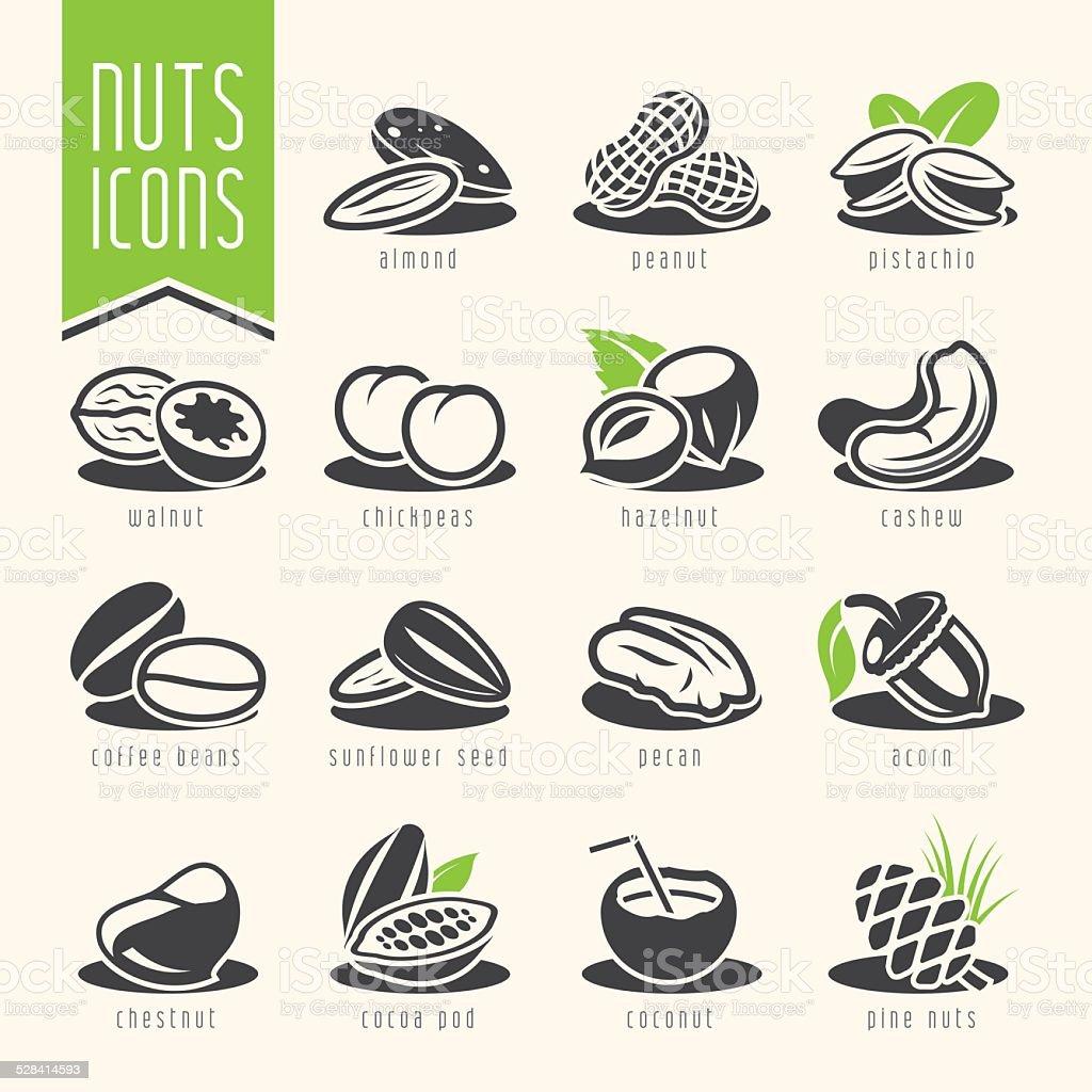 Nuts icon set vector art illustration