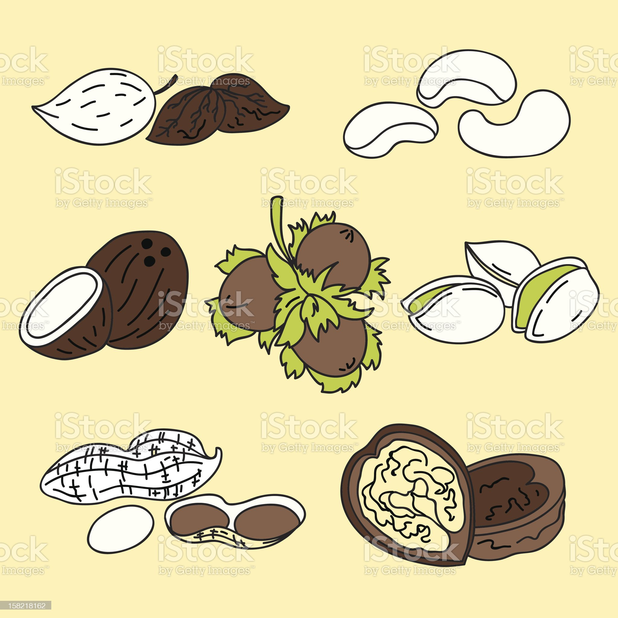 Nuts icons royalty-free stock vector art