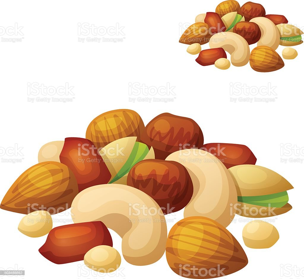 Nuts isolated on white background. Cartoon Vector Icon vector art illustration