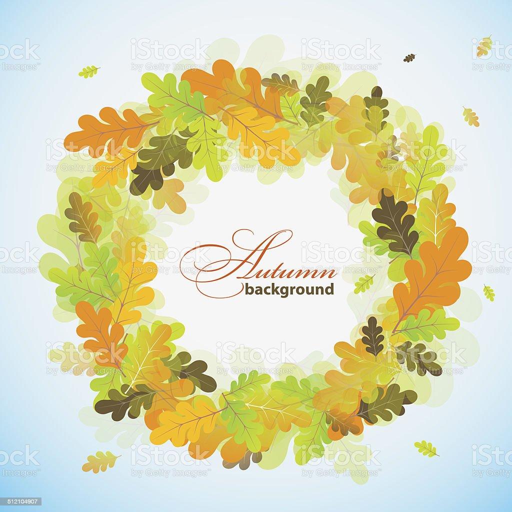 Oak autumn background vector art illustration