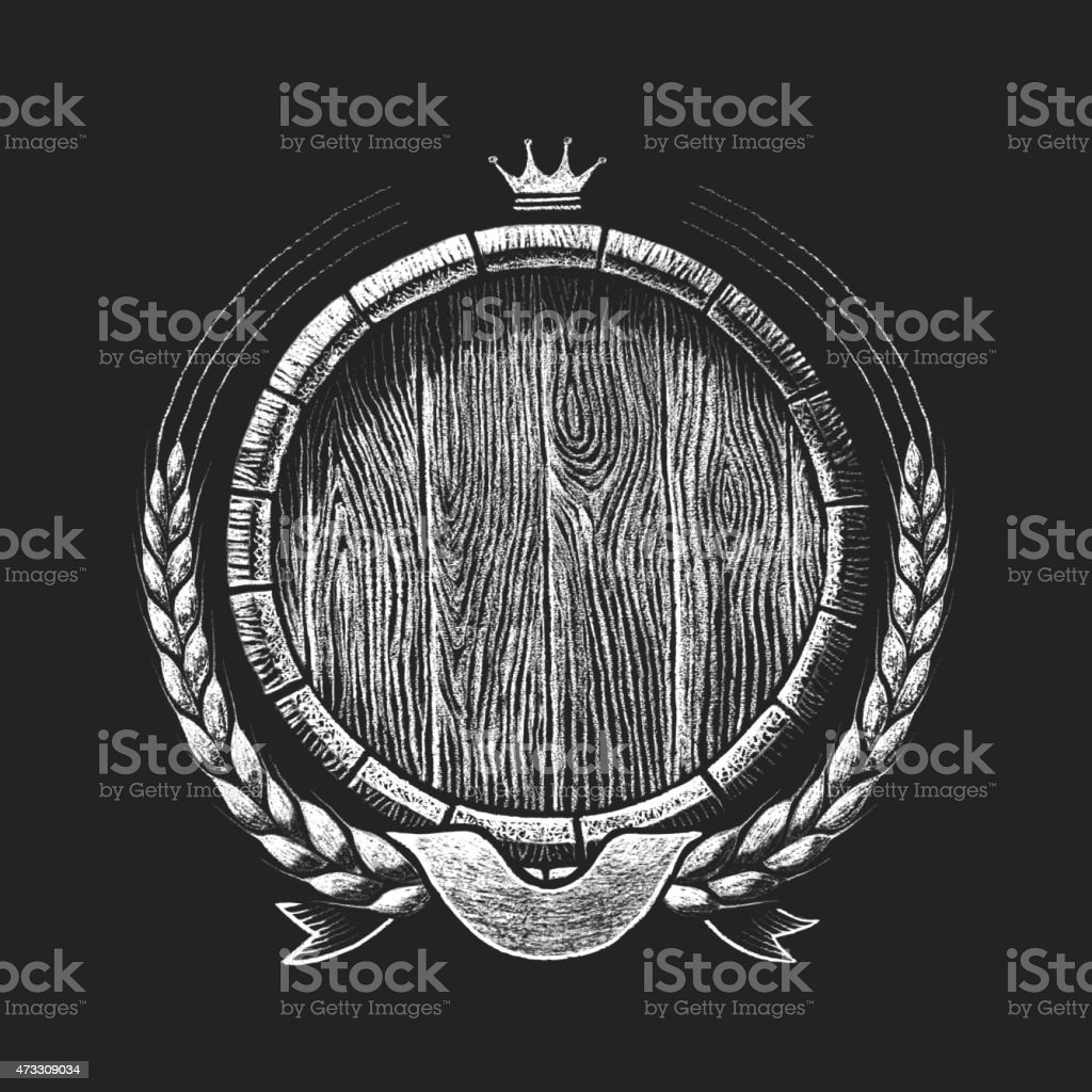 Oak barrel with wheat wreath drawn on the chalkboard vector art illustration