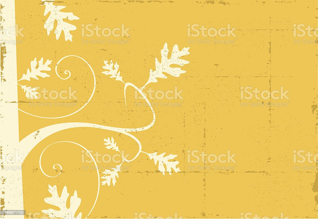 Oak Branch with Leaves Grunge royalty-free stock vector art