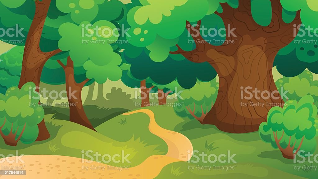 Oak Forest Game Background vector art illustration