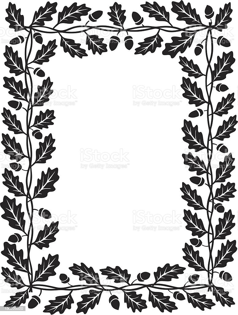 oak leaf frame black silhouette royalty-free stock vector art
