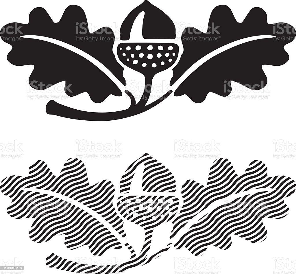 Oak leaves with acorn. vector art illustration