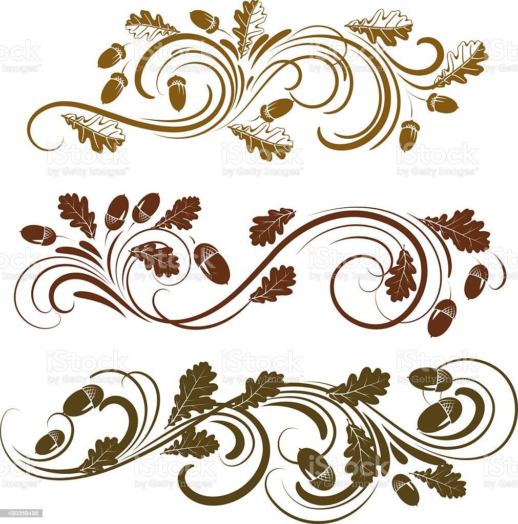 Oak ornament vector art illustration