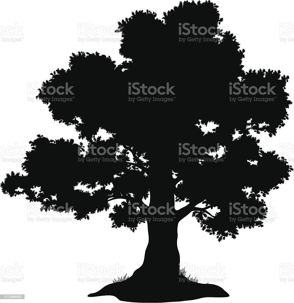 Oak tree and grass, silhouette vector art illustration