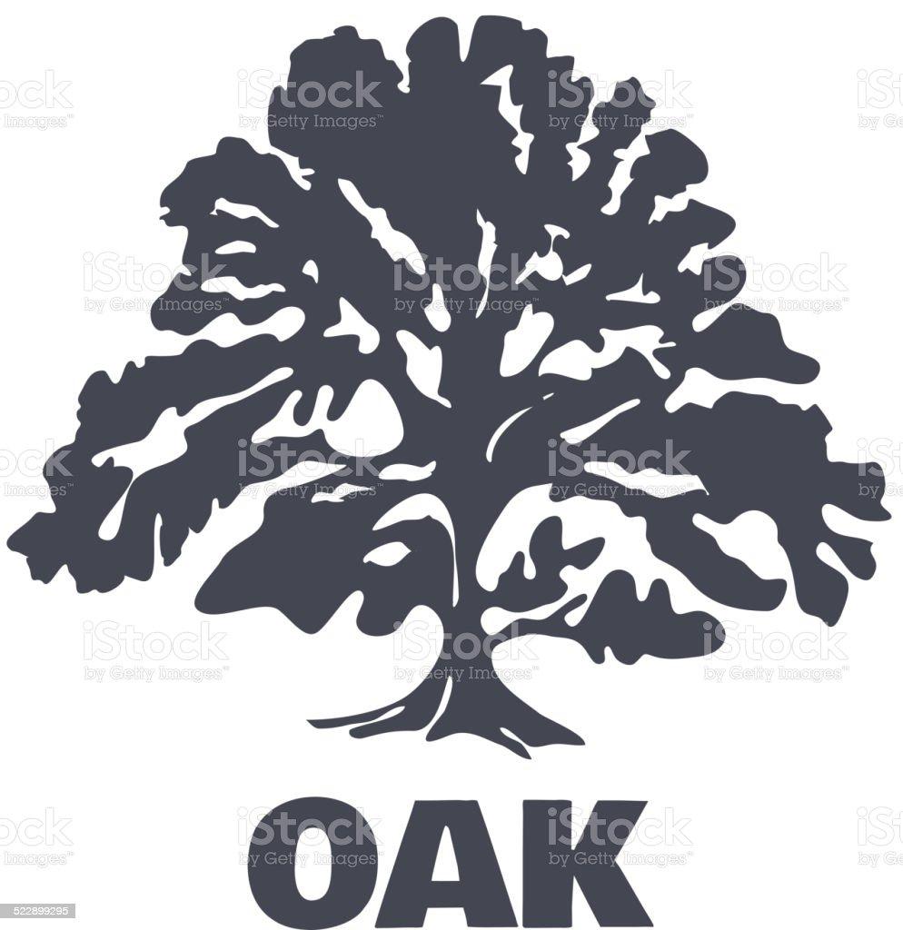 Oak Tree Logo Silhouette. Vector vector art illustration