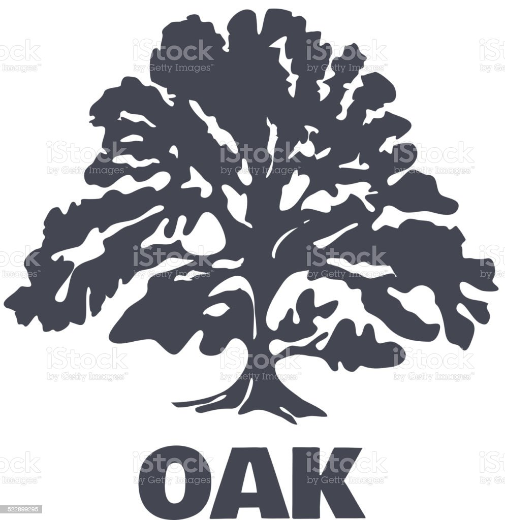 Oak Tree Logo Silhouette. Vector vector art illustration