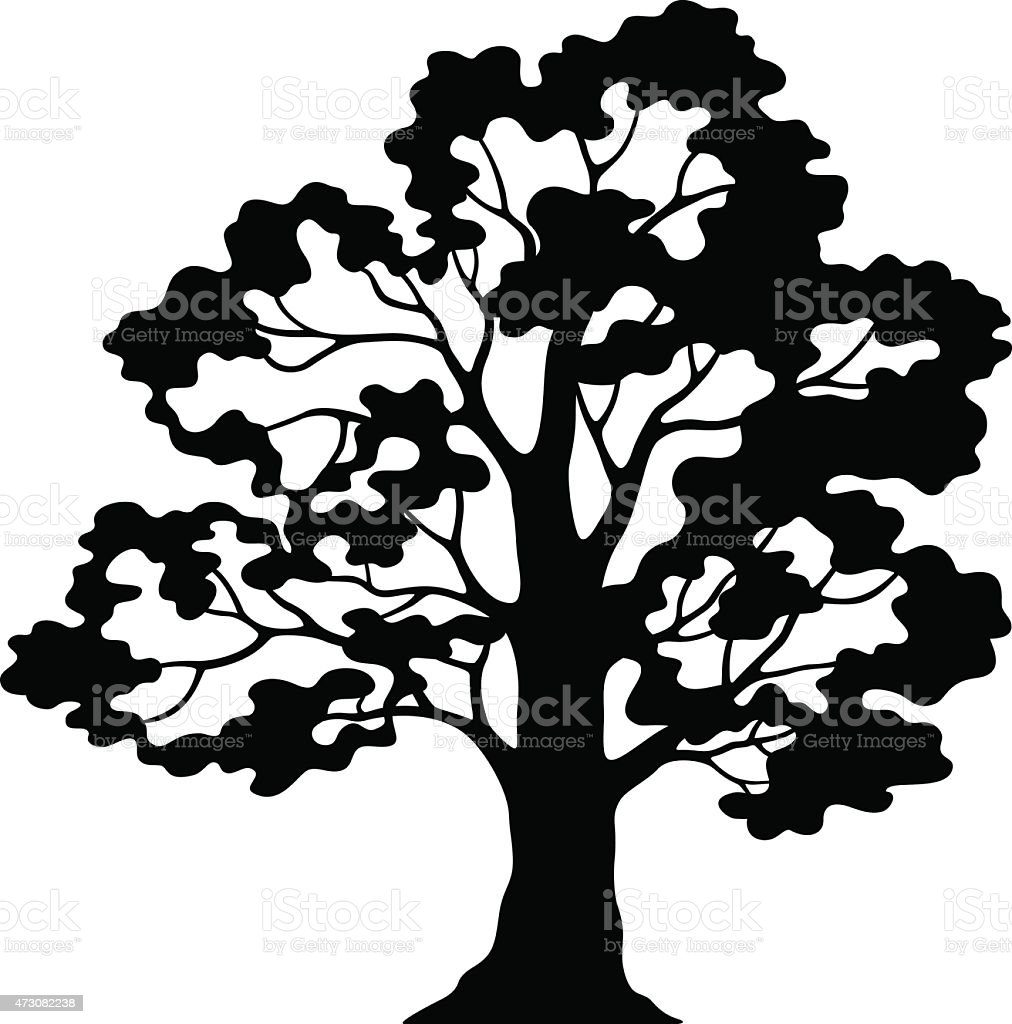 Oak Tree Pictogram, Black Silhouette and Contours vector art illustration