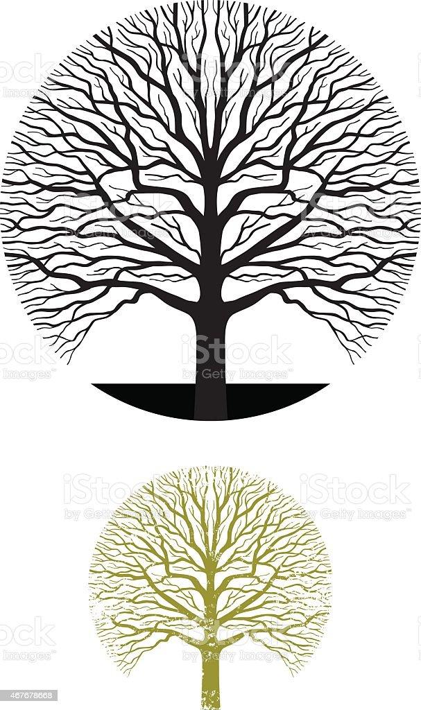Oak tree symbol illustration vector art illustration