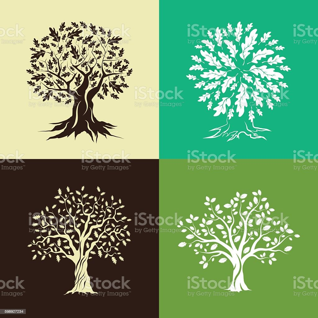 oak trees silhouette set vector art illustration