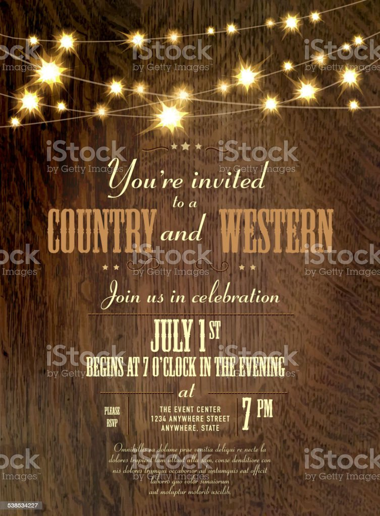 Oak Wood Country Western Invitation Design Template vector art illustration