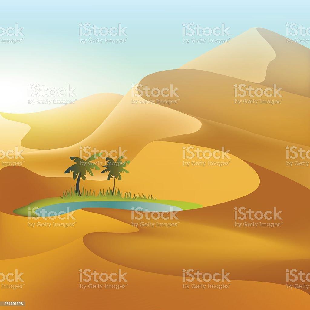 Oasis in the desert dunes vector art illustration