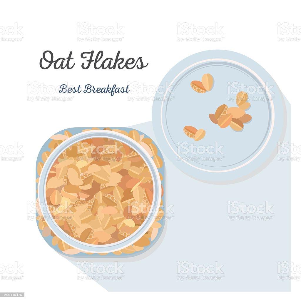 Oat Flakes. vector art illustration