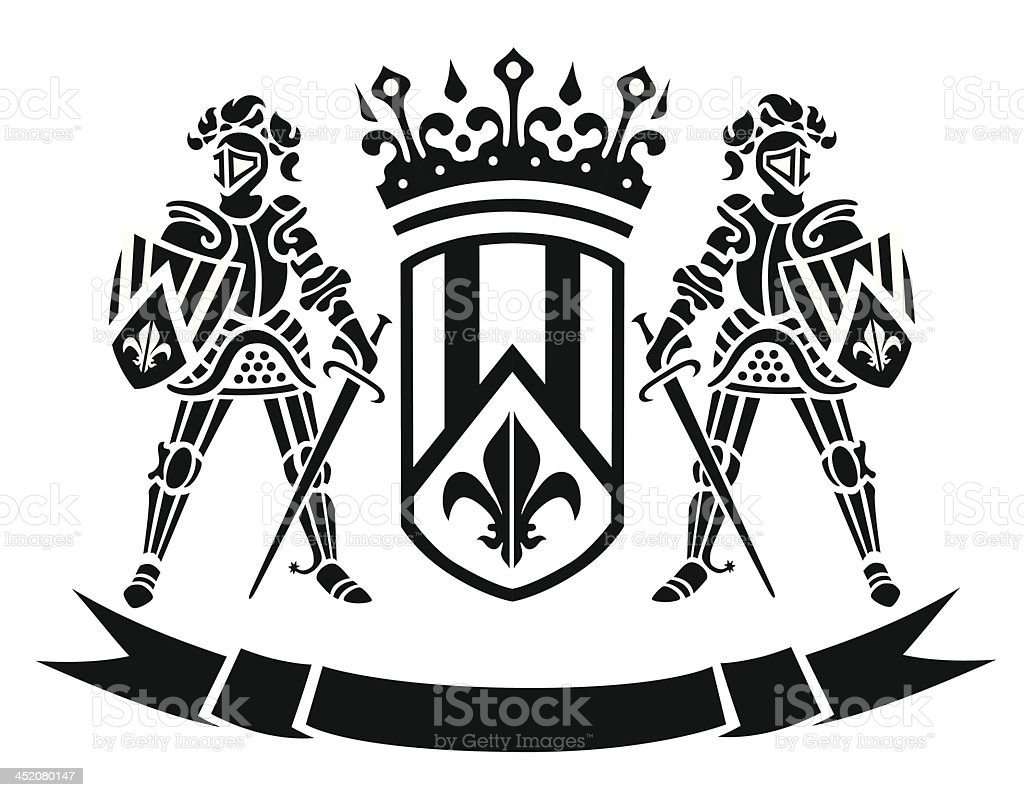 ?oat of arms with knights royalty-free stock vector art