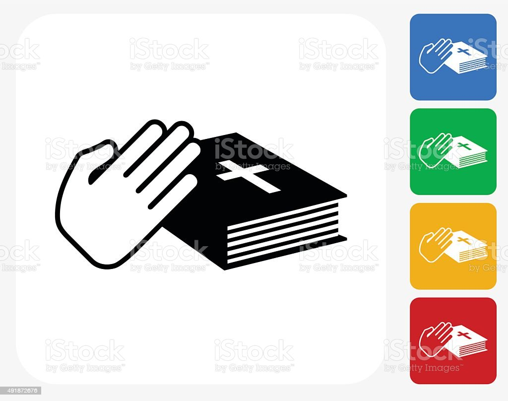 Oath Icon Flat Graphic Design vector art illustration