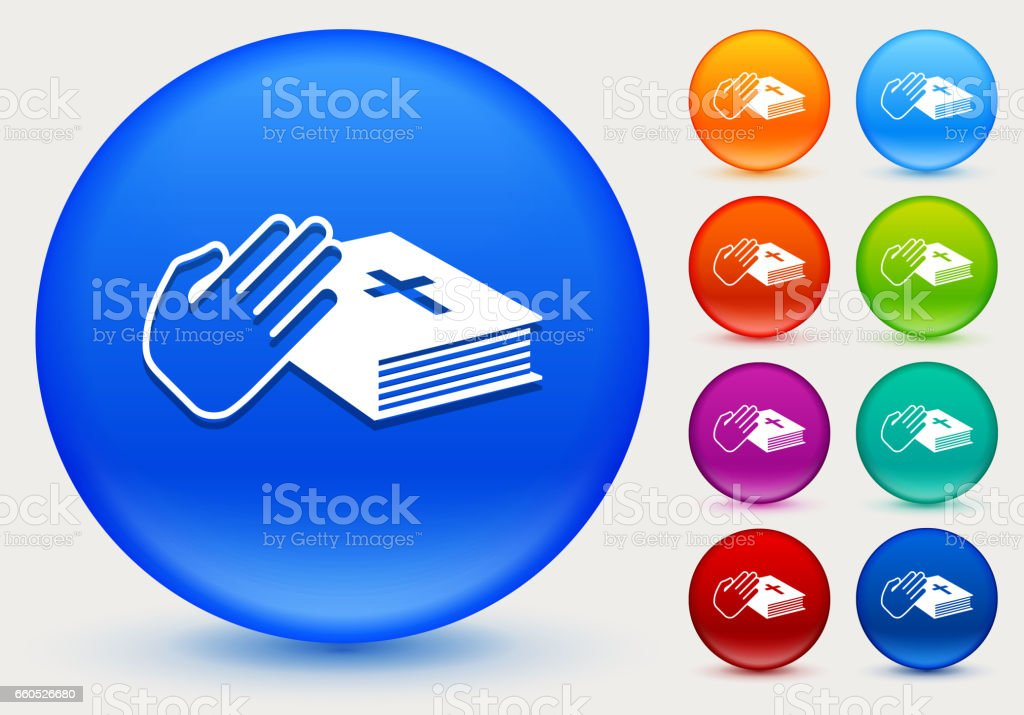 Oath Icon on Shiny Color Circle Buttons vector art illustration