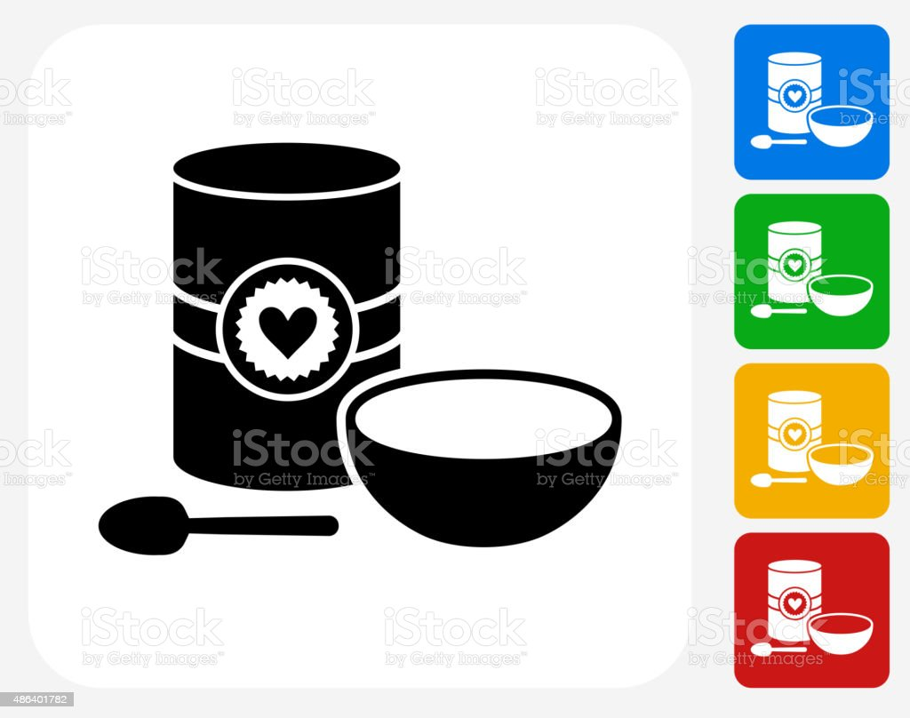 Oatmeal and Bowl Icon Flat Graphic Design vector art illustration