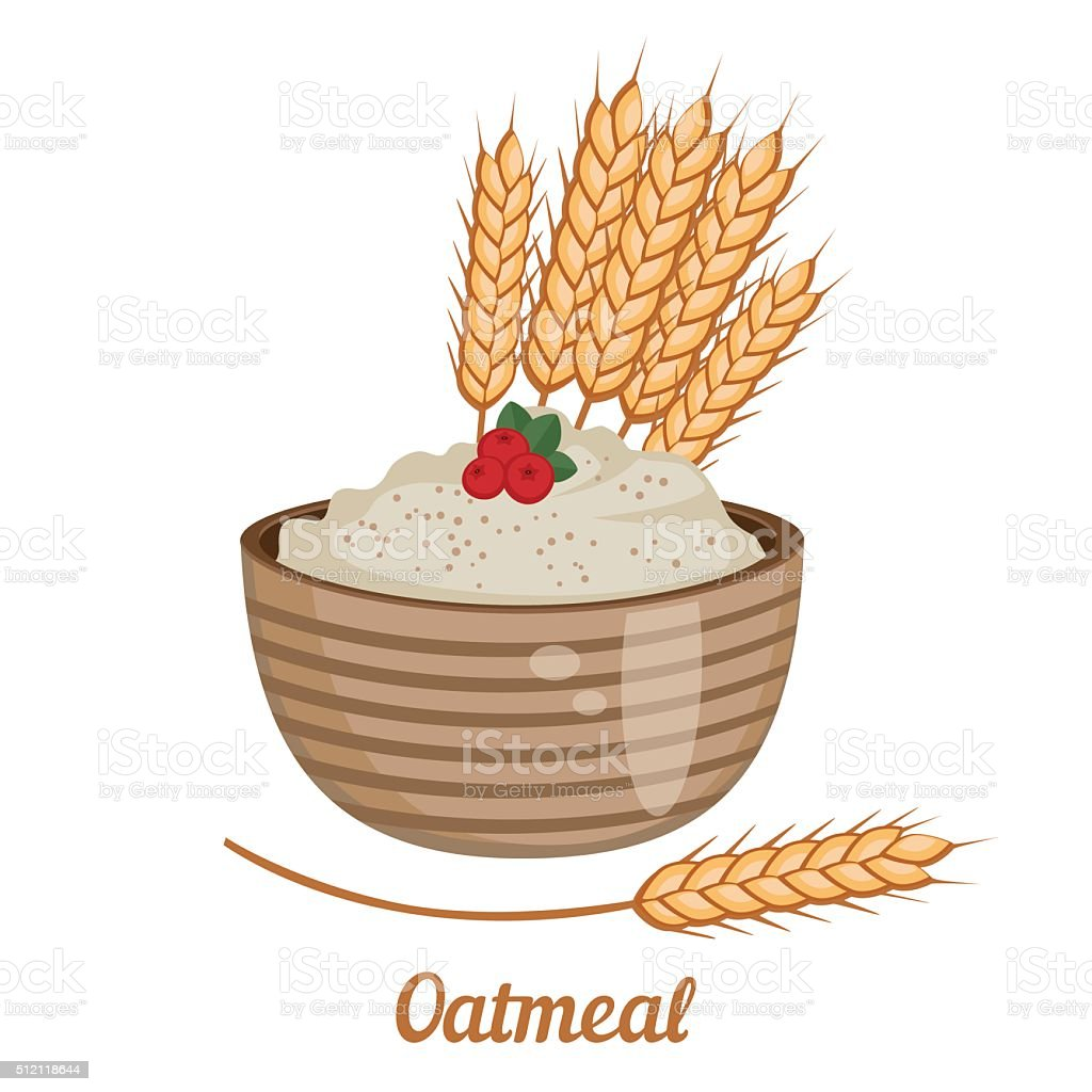 Oatmeal isolated on white background. vector art illustration