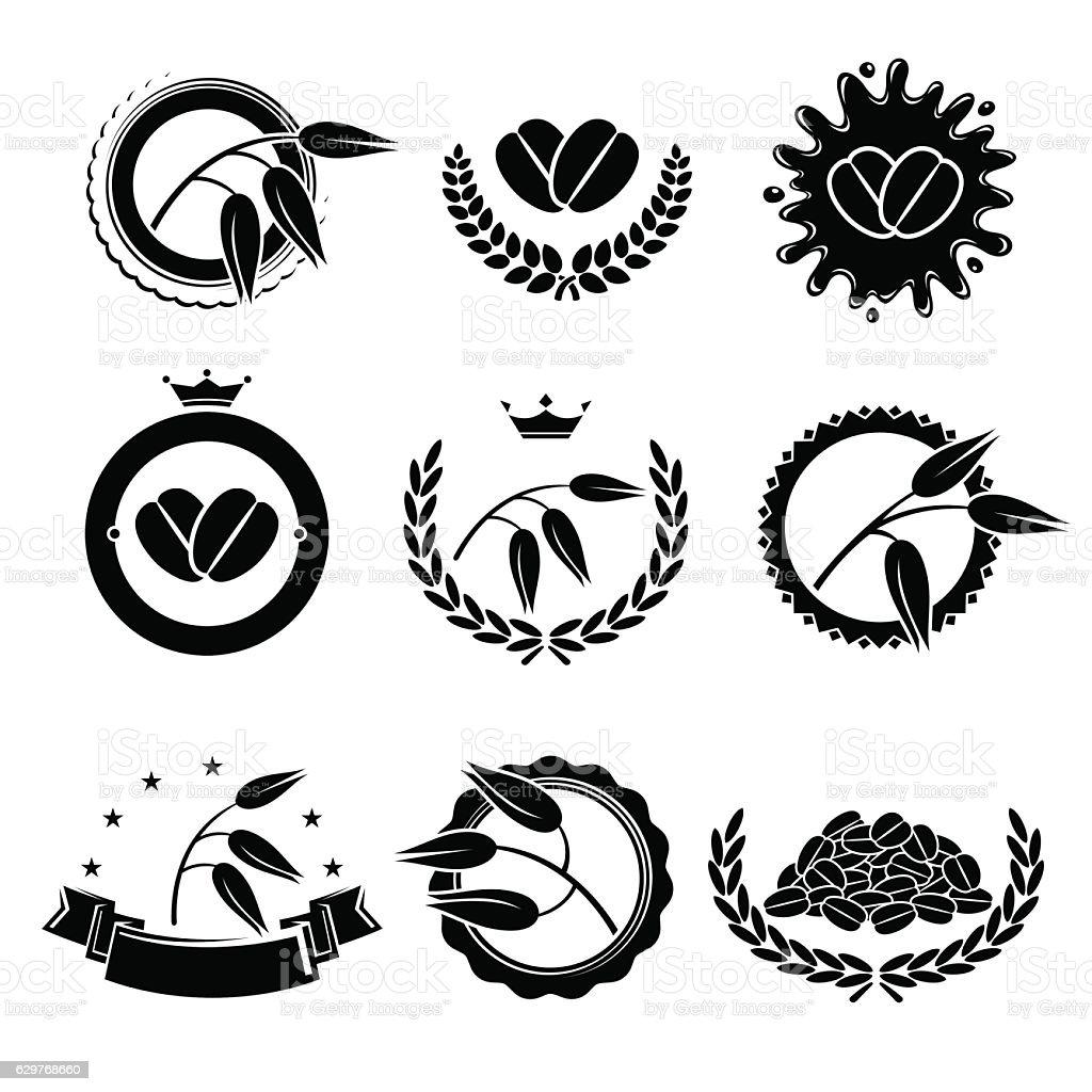 Oats labels and elements set. Vector vector art illustration