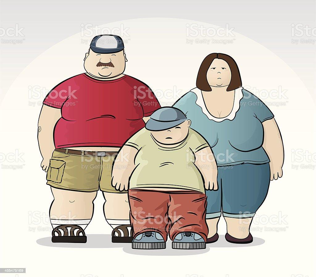 Obese Family vector art illustration
