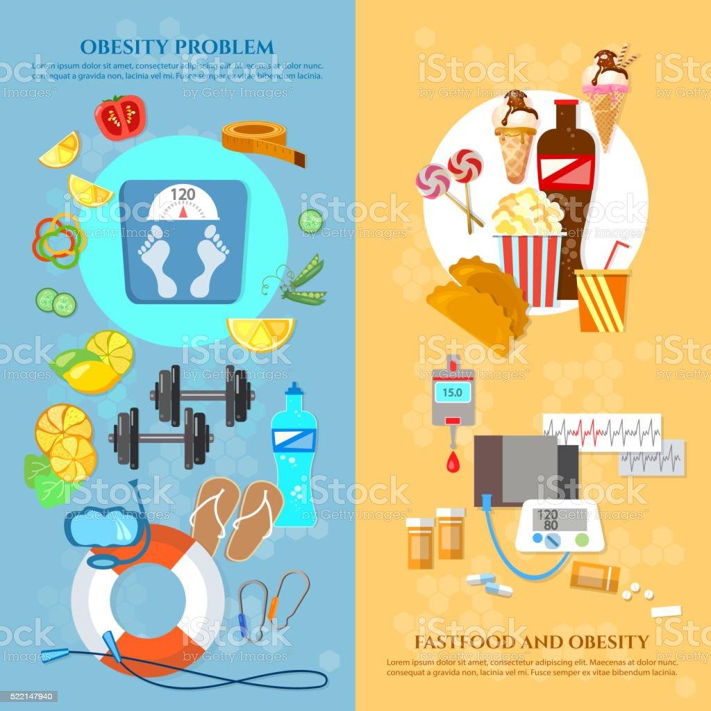 Obesity problem banner unhealthy eating diet vector art illustration