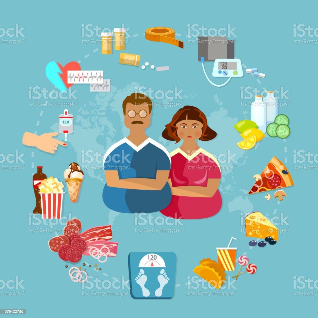 Obesity problem fat people bad food vector art illustration