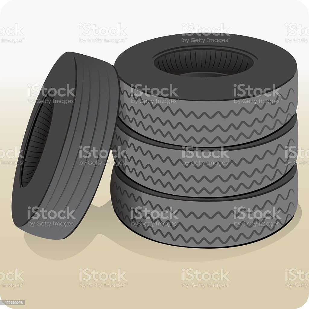 Objects, a lot of tires vector art illustration