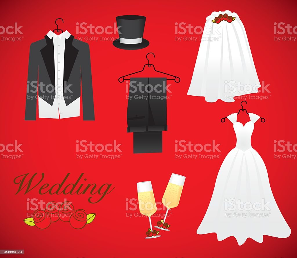 objects of marriage vector art illustration