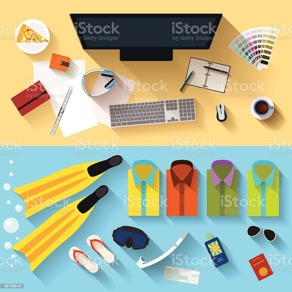 objects that people use in everyday life and during rest vector art illustration
