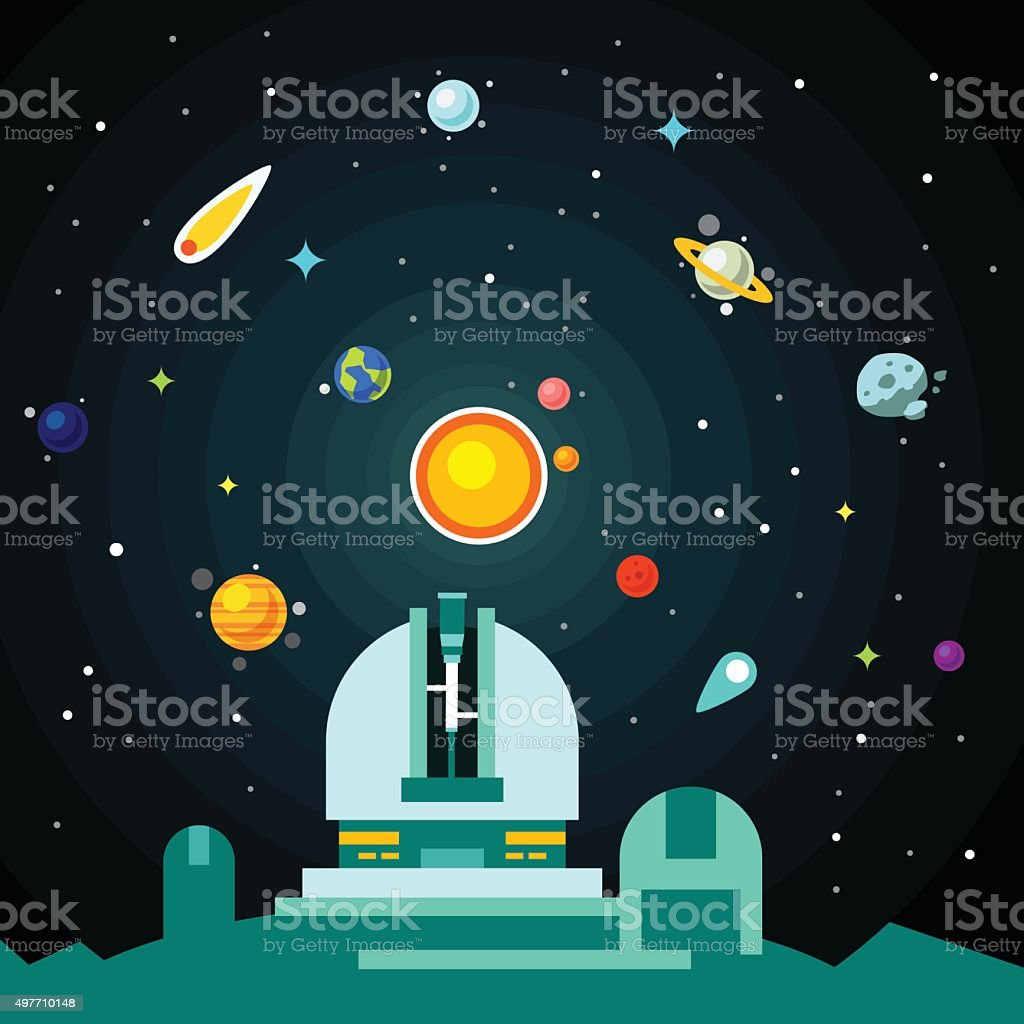 Observatory station, solar system with planets vector art illustration