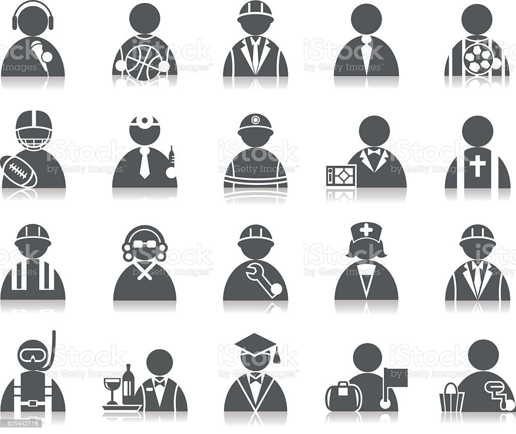 Occupation Icons vector art illustration