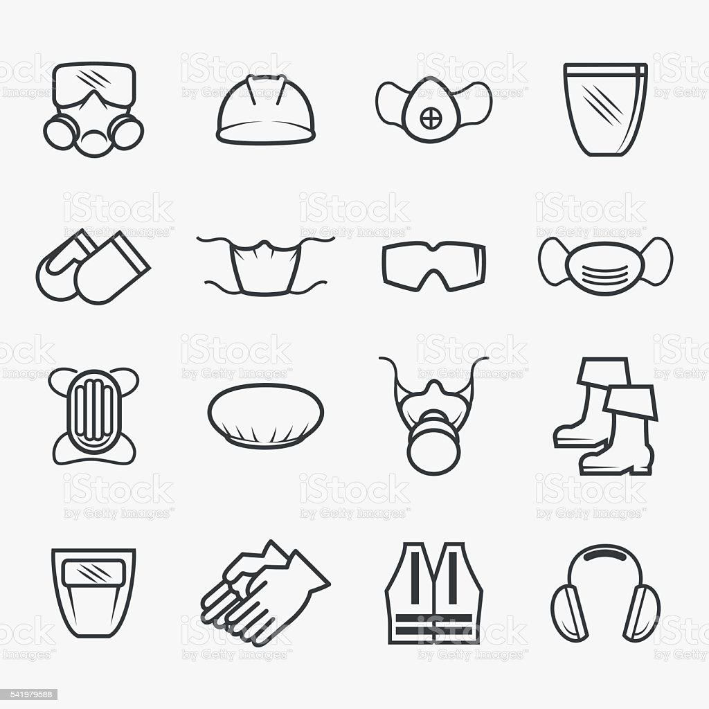 Occupational safety and health icons vector art illustration
