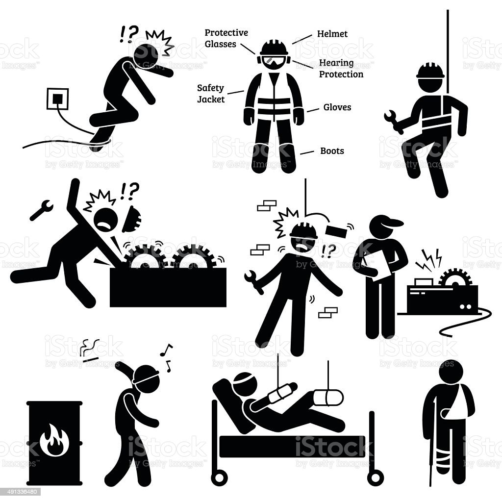 Occupational Safety and Health Worker Accident Hazard Pictogram vector art illustration