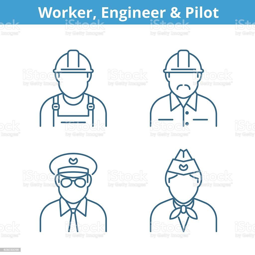Occupations avatar set: pilot, stewardess, engineer, worker. Thin outline icons. vector art illustration