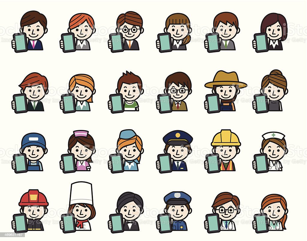 Occupations Icons - Smartphone royalty-free stock vector art