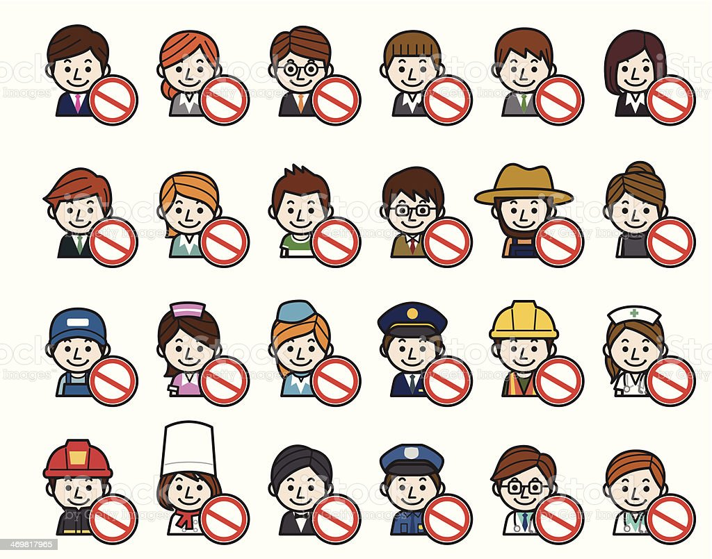 Occupations Icons - Stop sign royalty-free stock vector art