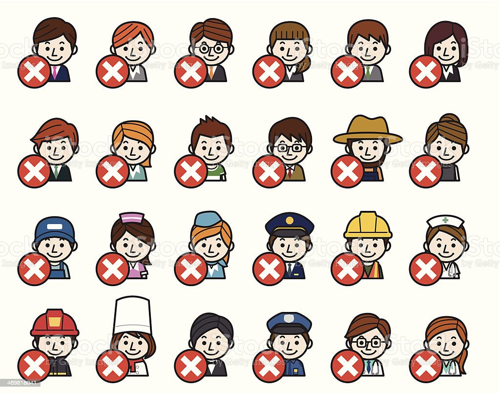 Occupations Icons - Wrong check mark royalty-free stock vector art