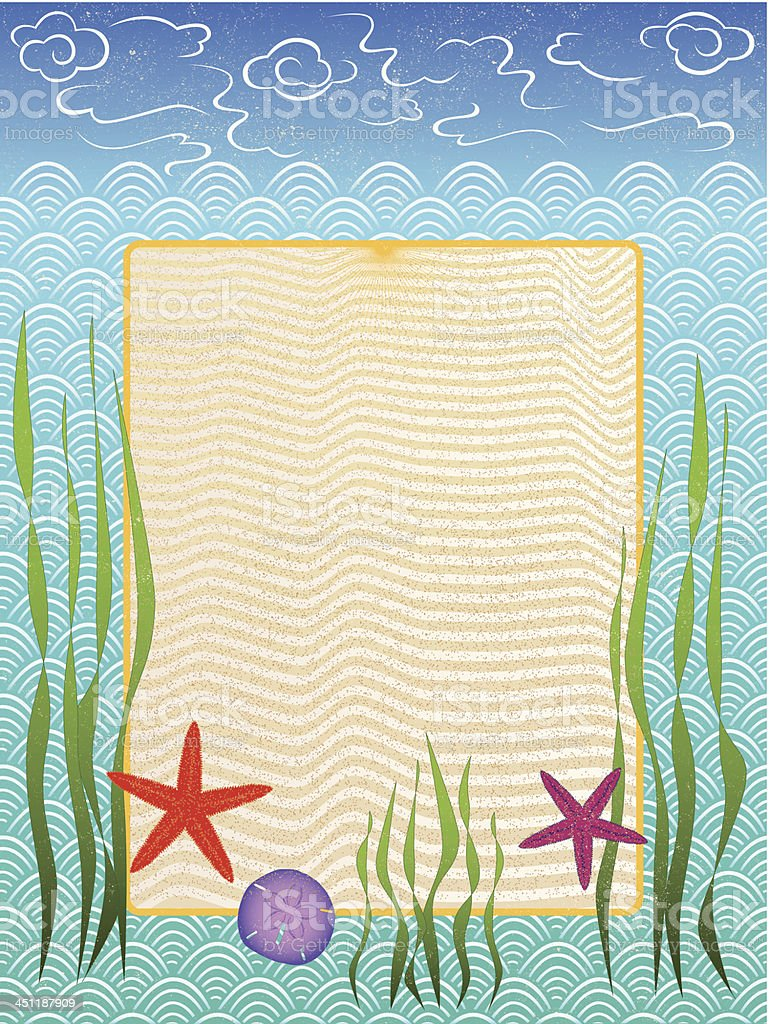 ocean and beach frame vector art illustration