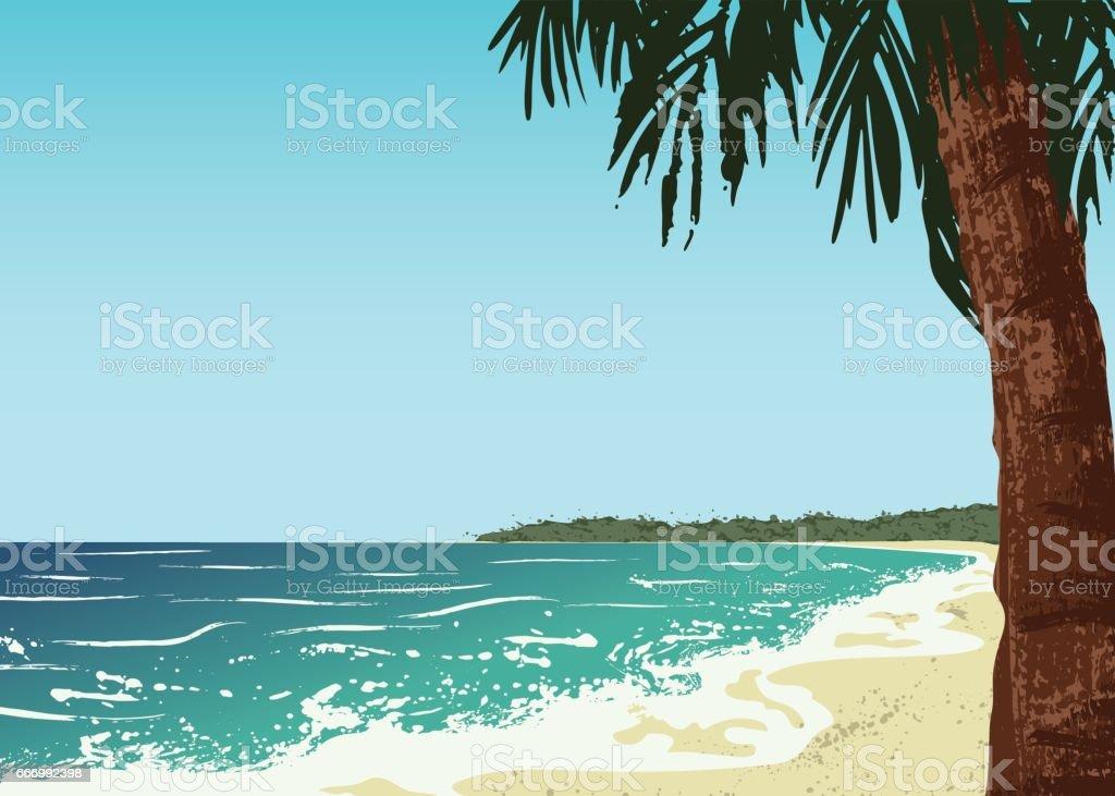 ocean and sand beach vector art illustration