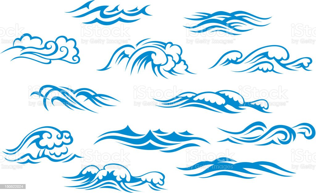 Ocean and sea waves vector art illustration