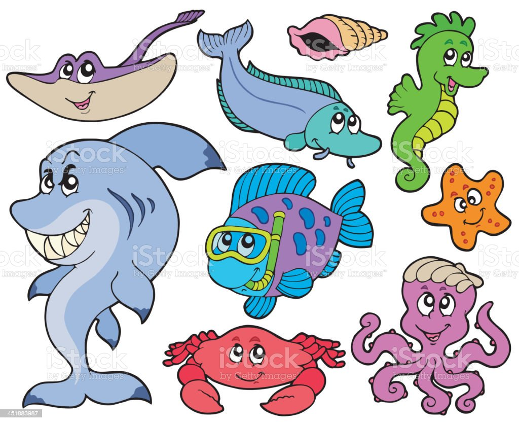 Ocean animals collection royalty-free stock vector art
