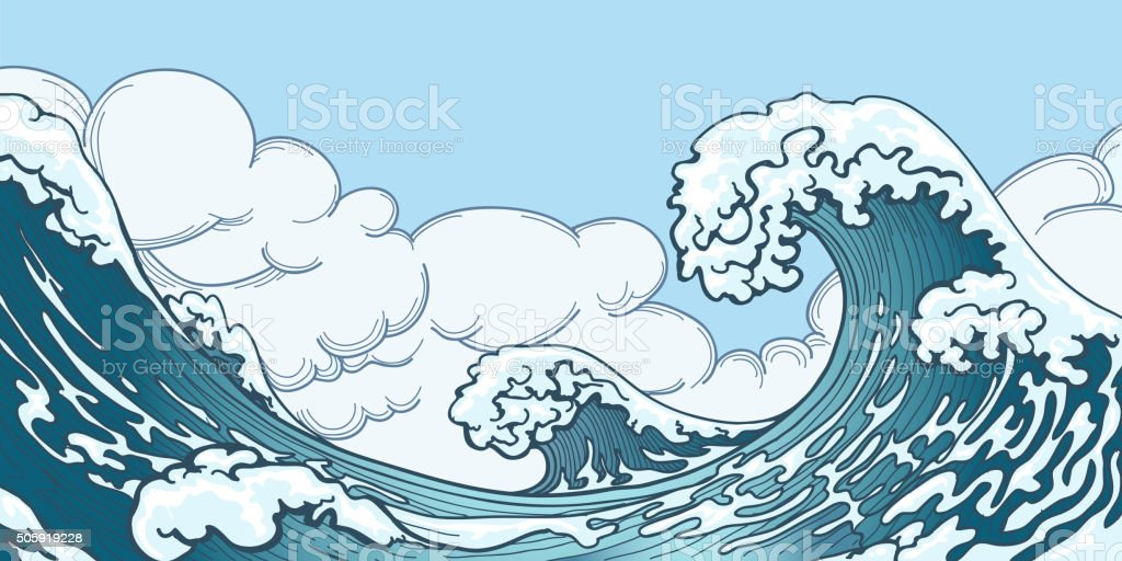 Ocean big wave in Japanese style vector art illustration